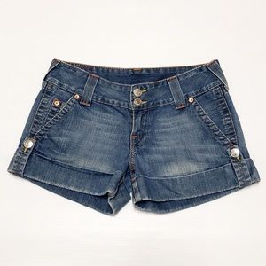 True Rrligion cuffed denim shorts